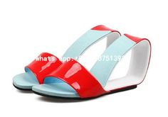 76.20$  Watch here - http://ali5e8.shopchina.info/1/go.php?t=32805737967 - Sexy High Heels Wedges Dress Shoes Woman 2017 Summer New Pwwp Toe Women Sandals Mixed Color Leather Gladiator Women Slippers  #aliexpresschina