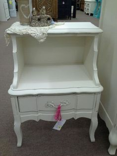 SOLD - We currently have to Country French night stands in stock, each with a single drawer and painted creamy white. Available at $99 each take one or two. They measure 20 inches across the front, 15 inches deep and stand 27 inches tall. They can  both be seen in booth H 12 at Main Street Antique Mall 7260 East Main St ( E of Power Rd ) Mesa 85207  (contact info hidden) open 7 days 10 till 530 Cash or charge accepted