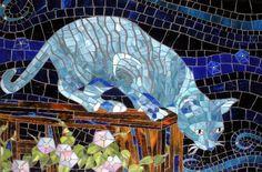 Stained glass mosaic art by Santa Barbara, CA artist, Christine Brallier. Blue Mosaic, Mosaic Art, Mosaic Glass, Mosaic Tiles, Mosaic Crafts, Mosaic Projects, Mosaic Animals, Cat Quilt, Mosaic Designs