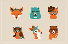 22 Hipster Animals on Character Design Served