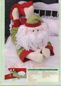 Papa Noel in Pajamas . Christmas Sewing, Felt Christmas, Christmas Stockings, Christmas Crafts, Christmas Decorations, Christmas Ornaments, Xmas, Felt Crafts Patterns, Plush Pattern
