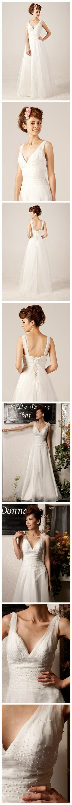 Beading V-neck Lace-up Wedding Dress with Sweep/Brush Train - Save 50% - 90% on Special Deals at http://www.ilovesavingcash.com