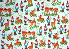 Gnome and Deer Oilcloth 120cm wide :(