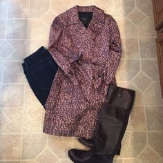 Talbots animal print trench coat I love this but have never worn it. It's in perfect condition. Talbots Jackets & Coats Trench Coats