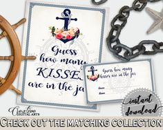 Navy Blue Nautical Anchor Flowers Bridal Shower Theme: Guess How Many Kisses Game - guess the kisses, party planning, party plan - 87BSZ #bridalshower #bride-to-be #bridetobe