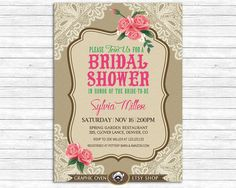 Bridal Shower Invite  Vintage Lace Floral Roses by ShopGO on Etsy