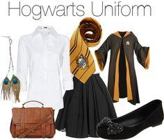 """Hufflepuff house uniform"" by ellalea ❤ liked on Polyvore"