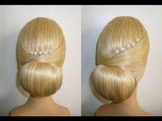 ▶ Свадебная причёска.Вечерняя причёска на выпускной.Пучок из волос.Donut Hair Bun Hairstyle.Coiffures - YouTube