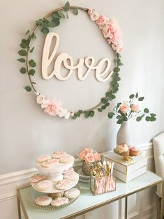 Bridal shower decor idea - greenery and blush decor - bridal shower dessert table