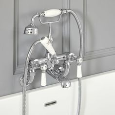 Milano Elizabeth - Traditional Wall Mounted Lever Bath Shower Mixer Tap - Chrome and White Bathroom Shop, Big Bathrooms, Wall Mounted Bath Taps, Bronze Huilé, Victorian Bath, Bath Shower Mixer Taps, Commercial Plumbing, Traditional Bathroom, Traditional Design