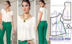 blusa social feminina- Moldes Moda por Medida