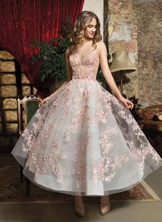 A-line dress with colorful embroidered flowers ,deep v evening dress,short homecoming dress ,colorful ball gowns - Evening Dresses Tea Length Wedding Dress, Tea Length Dresses, Wedding Dress Styles, Short Dresses, Gown Wedding, Maxi Dresses, Summer Dresses, Casual Dresses, Bridal Gowns