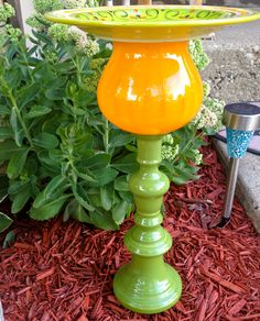 Bird Bath/Feeder-Glass Garden Totem-Garden Art-Deck & Patio Decor. $44.00, via Etsy.