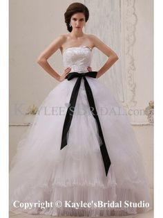 Gauze Strapless Floor Length Ball Gown Wedding Dress with Sash and Embroidered