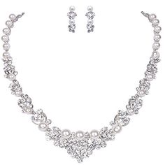 EVER FAITH Bridal Leaf Jewelry Set Clear Austrian Crystal Silver-Tone Simulated Pearl Ivory Color Cream -- You can get additional details at the image link.