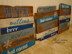 These were so much fun to make!  I literally tore apart a super old pallet and made these signs out of it.  I think I'm in lo...
