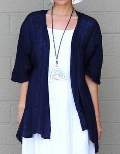FENINI  USA  Linen Gauze  MESH DRAPE JACKET Open Drape Front 1X  2X  3X  NILE #FENINIUSA #Jacket #Versatile