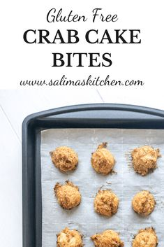 These gluten free crab cake bites make the perfect appetizer topped with a spoonful of spicy aioli and freshly minced chives. Gluten Free Crab Cakes, Gluten Free Appetizers, Gluten Free Dinner, Gluten Free Recipes, Spicy Aioli, Gluten Free Bread Crumbs, Cake Bites, Those Recipe, Baked Fish