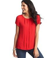 Petite Pleat Front Tee Blouse - A trio of box pleats beautifies this endlessly elegant (and totally easygoing) cross between a tee - and a blouse. Jewel neck. Short sleeves. Banded neckline.
