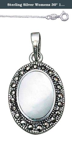 """Sterling Silver Womens 30"""" 1mm Box Chain Mother Of Pearl Pendant Necklace Marcasite Border. Sterling Silver Womens Lightweight 30"""" 1mm Wide Box Chain Necklace With Oval Mother Of Pearl Pendant With Marcasite Border And High Polished Bail. SKU#: A5453T ."""