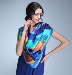Original Design Silk Scarf - Heart of Ocean (Charmeuse Kerchief) www.seres-silk.com