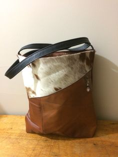 Leather tote bag made from upcycled Moran lounge. Handmade in Tasmania by K8Created