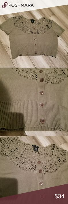 CK JEANS  Half Sweater Button Up Size Large Tan Calvin Sweater Jeans half sweater wity shiet sleeves. Button up. Size large. Excellent condition. Calvin Klein Jeans Sweaters Cardigans