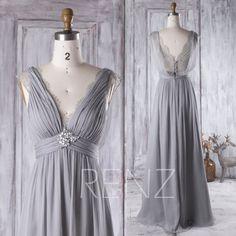 2016 Light Gray Bridesmaid Dress Long V Neck Lace von RenzRags