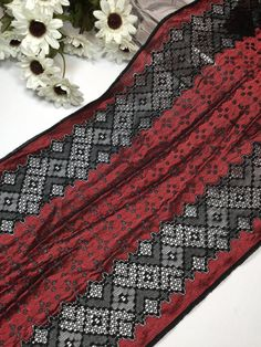 Metallic red and black stretch mesh lace trim by the yard | Etsy Lace Trim Shorts, Stretch Lace, Plaid Scarf, Stretches, To My Daughter, Metallic, Mesh, Yard, Crochet