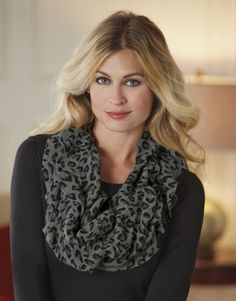 Leopard Ruffle Infinity Scarf from Midnight Velvet. A little wild, a little sweet. This stretchy infinity scarf has a leopard print softened by a ruffled edge.
