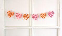 DIY geometric felt heart garland (from How About Orange) Little Valentine, Saint Valentine, Valentine Day Crafts, Love Valentines, Geometric Heart, Heart Garland, Crafts For Girls, Valentine's Day Diy, Felt Hearts