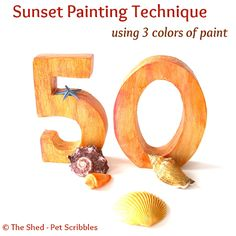Sunset-Inspired Painting Technique using 3 colors of paint: You can create a color wash on unfinished or painted wood that has some depth with this simple technique! (Nice for Autumn paint projects too!)