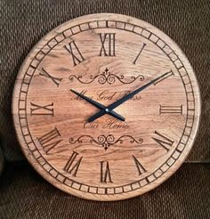 May God Bless This Home. Solid wood large 16 inch clock. Large blade style hands, Roman numerals and classic scroll work adds to the beauty of the clock made right here in Navarre, OH.