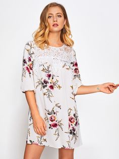Shop Floral Print Lace Panel Dress online. SheIn offers Floral Print Lace Panel Dress & more to fit your fashionable needs.