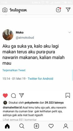 We've got you covered…We've compiled the largest set of funny quotes to make you laugh out loud. Quotes Lucu, Jokes Quotes, Funny Tweets, Funny Jokes, Mood Quotes, Life Quotes, Self Reminder, Animal Jokes, Quotes Indonesia