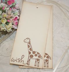 Baby Shower Wish Tree Tags  Giraffe Image  by ShabbyPeaDesigns, $12.00