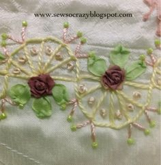 Pastel / Almost Monochromatic Crazy Quilting Embroidery Stitches Hand Work Embroidery, Hand Embroidery Stitches, Silk Ribbon Embroidery, Cross Stitch Embroidery, Embroidery Designs, Crazy Quilt Stitches, Crazy Quilt Blocks, Quilt Block Patterns, Crazy Quilting