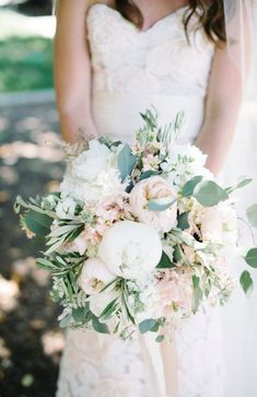 white green and blush pink wedding bouquet