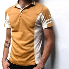Vintage camel tan striped color and arms tennis polo sli Mens Printed Shirts, Mens Polo T Shirts, Polo Tees, Mens Sweatshirts, Polo Shirt Design, Polo Design, Mens Tennis Clothing, Nike Outfits, My T Shirt