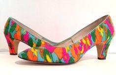 Vintage 1960s shoes / multicolor 60s shoes / by Vintage4SteppinOut, $65.00