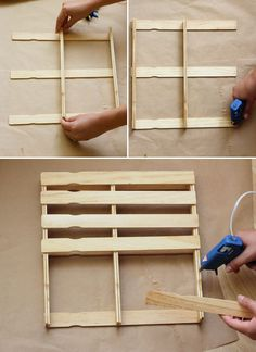 Paint Stick Mini Pallets DIY paint stick pallet // At Home in LoveDIY paint stick pallet // At Home in Love Diy Crafts For Gifts, Diy Craft Projects, Home Crafts, Paint Stir Sticks, Painted Sticks, Popsicle Stick Crafts, Popsicle Sticks, Motif Mandala Crochet, Paint Stick Crafts