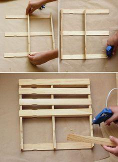 Paint Stick Mini Pallets DIY paint stick pallet // At Home in LoveDIY paint stick pallet // At Home in Love Paint Stir Sticks, Painted Sticks, Popsicle Stick Crafts, Popsicle Sticks, Diy Crafts For Gifts, Home Crafts, Motif Mandala Crochet, Paint Stick Crafts, Paint Stirrers