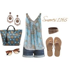 Summertime by smores1165 on Polyvore featuring Arden B., Havaianas, Rafé New York, Swarovski, Topshop and J.Crew