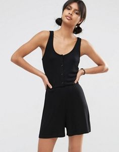 eb204e3e8b9 ASOS Ribbed Button Through Lounge Playsuit Black Playsuit