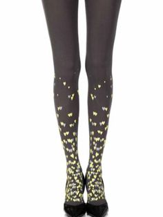 """Queen Of Hearts"" Grey One-Size Print Tights"