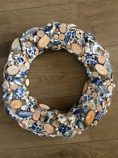 """Wreath, inspired by the painting """"Girl with the pearl earring"""" (J. Vermeer), Delfs Blauw, diy, krans"""