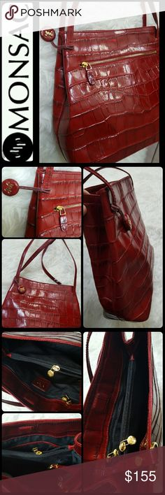 Monsac Leather Bag Monsac Signature Bag in Croc Style Leather, Stunning in Red with Gold Toned Hardware! Opens to Multiple Compartments with Zipped Middle Compartment! Approx Size 10x11x4 inches,  Mint Condition! Monsac Bags