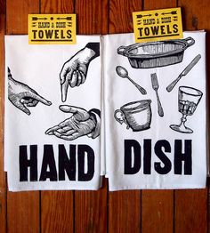 Hand & Dish Flour Sack Towels – Set of 2 by Just A Jar on Scoutmob Shoppe. Two clever hand and dish towels featuring original illustrations screenprinted onto deluxe flour sack towels.