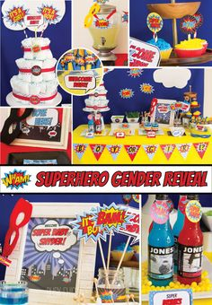 DIY Superhero Gender Reveal Party Decorations Package Printable pdf files allow you to choose the items you want to print and the quantity of