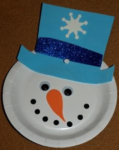 Cute & easy snowman.  Had to follow some links to get to the instruction page which did not have this picture on it, so here is the instruction page (and true source): http://easypreschoolcraft.blogspot.com/2012/10/christmas-paper-plate-snowman-face-craft.html